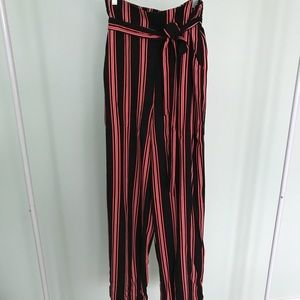 Forever 21- Red & Black Striped Pants- NEVER WORN